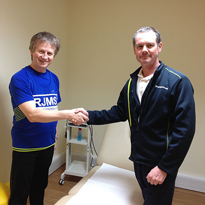 Rod Cumming meeting the Nuffield's new Physio, David Doherty